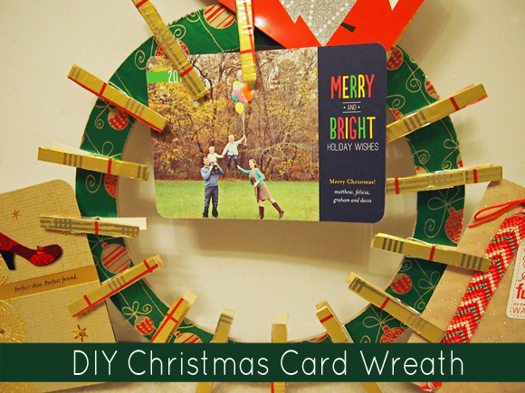 how to make a christmas card wreath