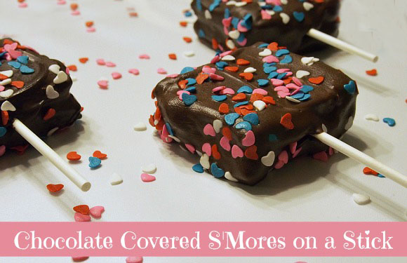 chocolate covered smores on a stick