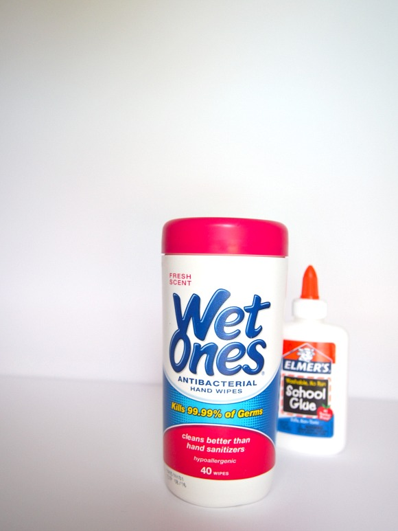 wet ones and elmer's glue