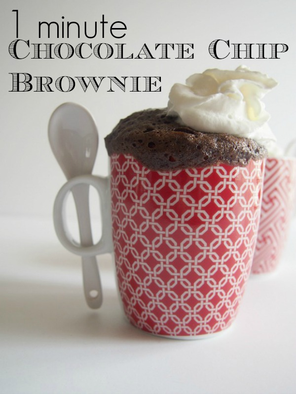 1 Minute Chocolate Chip Brownies you can make in a mug!  So easy and delicious.
