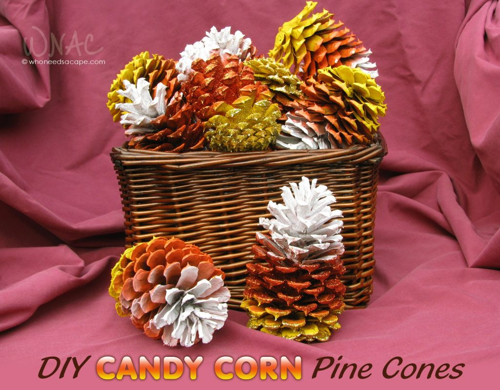 Candy Corn Pine Cones